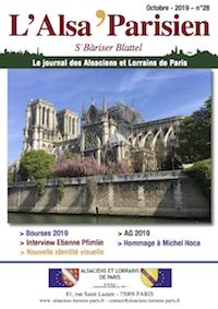Couverture de l'Alsa'Parisien numéro 28 d'octobre 2019
